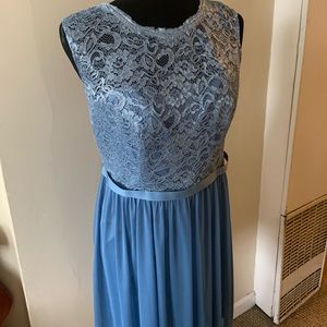 Short Metallic Lace and Mesh Dress - Steel Blue 10